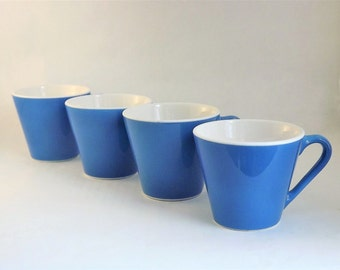 Coffee Mug Set, 4 Coffee Cups, Retro Coffee Mugs, Syracuse Syralite Coffee Mug, Vintage Blue Coffee Cups, Cappuccino cups