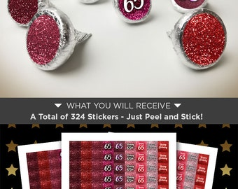 65th Birthday Party Favors For Adults 324 PINK GLITTER Hershey Kiss Sticker