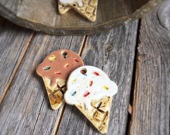 Ceramic Ice Cream Cone Pendant | Stoneware Ice cream Cone Ornament | Pottery Ice Cream Cone Gift tag | Ice cream cone Backpack Charm