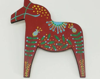 Hand painted mid century modern scandinavian style dala horse statement brooch in red