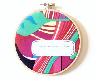 Repurposed fabric embroidery hoop wall art. Home decor. Original poem. Rainbow. Favourite colour. Bright. Love. Wall hanging. Decoration.