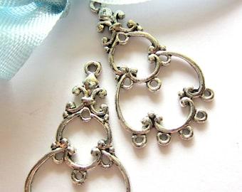 8 Silver Earring hoops jewelry connectors earring dangles 35mm 19mm S8(G2)