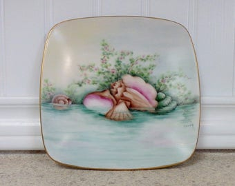 Hand Painted Seashell Dish/Plate, Porcelain, Japan