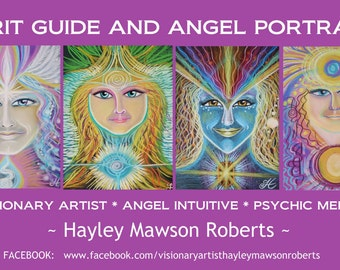 Spirit Guide Portrait - By Visionary artist,  Angel Intuitive and Psychic Medium Hayley Mawson Roberts