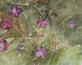 Violets, Original Watercolor, Prints Available, 5x7 print with 8x10 matching mat. 20.00 each, Includes tax,shipping and handling.