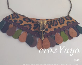 Leather collar and fabric