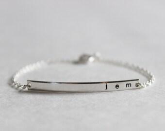 Personalized Sterling Silver Skinny Bar Bracelet