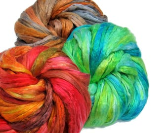 Mulberry Silk varigated roving set of 3 colorways, hand dyed