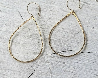Teardrop Hoops - organic jewelry, basic, hoops, teardrop earrings, hawaii, beach chic