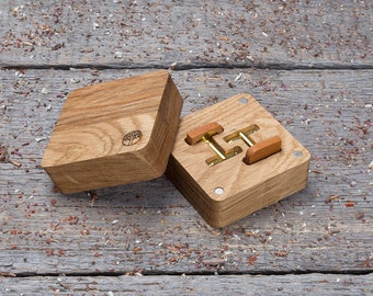 Wooden Cufflinks, Rounded Square wood cufflinks, Gift box and free shipping, ready any personalization Wedding groomsmen set monogrammed