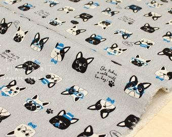 Japanese Fabric - Fancy Pups canvas - grey - 50cm