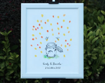 Custom Hand Drawn Wedding Guest Book Mason Jar with fireflies - Thumbprint Signature Guestbook - Original Art - Free Gift with Purchase