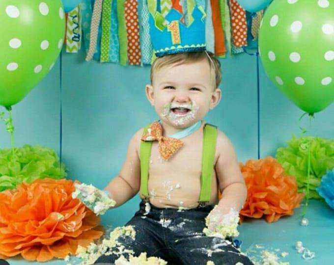 Boy Birthday Cake Smash Set | Birthday Crown | Bow Tie and Cake Banner | Birthday Crown | Baby Crown | Baby Birthday | First Birthday