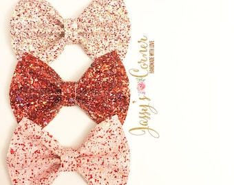 Valentine's Day Glitter Hairbow | Valentine's Day Glitter Hairclip | Valentine's Day Clip | Valentine's Day Bows | Red Glitter Bow