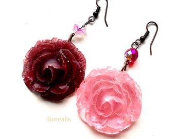 Rose Earrings Bi-chromatic resin two-poles Boho Chic red rose Bohemian Rustic crystals handcrafted