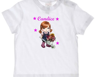 tee shirt baby girl and wheelbarrow personalized with name