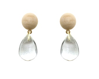 Wood + Glass Minimalist Earrings - OLAF Modern Jewelry