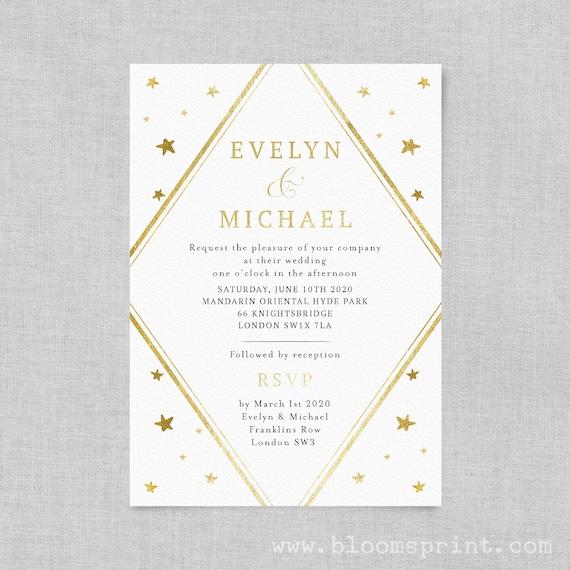 Starry night wedding invitation template download, Rose gold Wedding invitation pdf, Stars wedding invite, Simple wedding invitation, A5