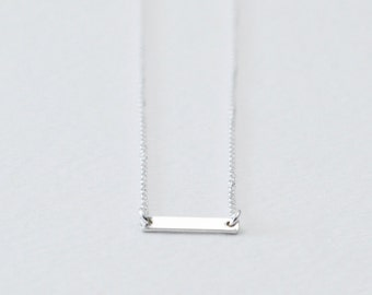 Small silver bar necklace - minimal necklace - horizontal bar necklace - delicate minimalist necklace - sterling silver chain - Silver Dash