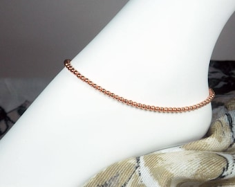 "Copper Ankle Bracelet, Beaded Anklet, Bright Copper Bracelet, Copper Anklet, Girls Size, Plus Size, 7"", 8"", 9"", 10"", 11"", 12"", 13"""