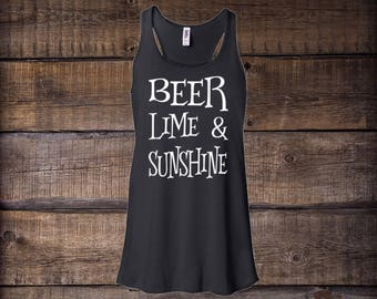 Beer Lime and Sunshine Tank Top Women's Flowy Racerback, tank top, tops and tees, gym tank tank, workout tank, beach tank, drinking shirt