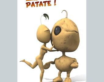 Carte postale papier - St-Valentin Patateman