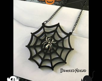 Spider on web necklace // gothic // halloween //