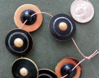 Vintage, Unique Celluloid Buttons, Six Black and Ivory