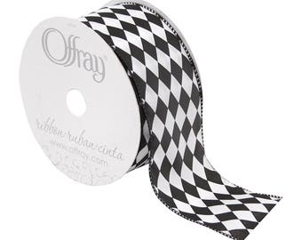 "Offray Wired Edge Harlequin Diamond Pattern Ribbon, 1-1/2"" Wide, 25 Yards, Black and White - Court Jester"