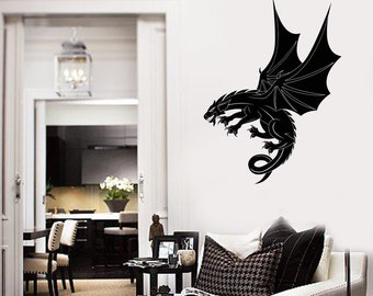 Flying Dragon Vinyl Wall Decal Fantasy Style Kids Room Decor Stickers Mural (#2757di)