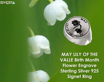 Flower Ring, May Flower Ring, May Flower, Flower Ring, Birth Month Flower Ring, Birth Flower, May Flower, Engraved Ring, lily of the valley