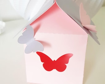 "Cabin birdhouse with birds-baptism - themed ""Butterfly"" for festive paper 210 gr - table"