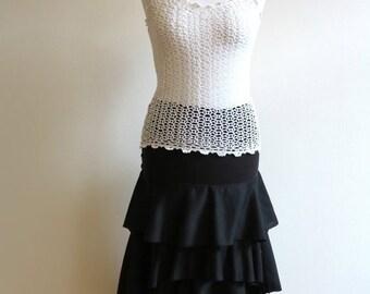 Black Ruffled Skirt Elastic Waist Skirt Ruffled Midi Skirt Asymmetric Skirt Small Size