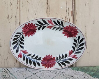 French Antique Ironstone Platter - Victorian White Plate With Burgundy + Black Pattern, Vintage Large Oval Serving Platter, Home/Wall Decor