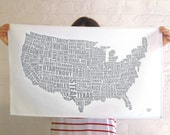 American Gastronomy Map Tea Towel Grey - Gifts for foodies - Kitchen Gifts