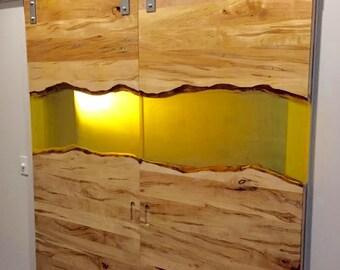 Resin and Ambrosia Maple Barn Door