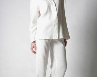 Linen White Pajama Set / Longsleeve Shirt And Long Linen Trouser/ Linen Classical Pajama/ Linen Loungwear