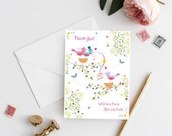Printable Love Birds Thank you Card, Wedding Thank you Cards, Digital Download