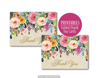 Floral Thank you printable cards,  Thank You Note , Foldable Cards 3,5 x 4.8 folded. Print your own, INSTANT DOWNLOAD 0513