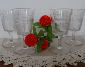 """US Glass """"Diagonal Band and Fan"""" Set of 4 Goblets"""