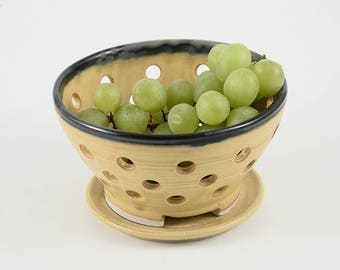 Berry Bowl -  Wheat colored glaze with black rim. Includes matching plate. Original Hand-made Porcelain