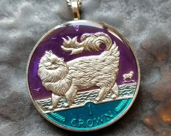 Cat - Maine Coon - Isle of Man Coin Pendant - Hand Painted