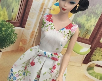 "NEW! White and pink ""Cut and Sew"" Belle dress by Marirose for Barbie"