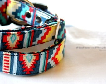 Canvas Southwestern design Dog Collar