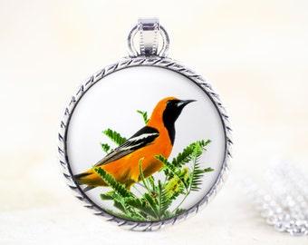 Oriole Bird Necklace - Songbird Necklace, Orange Bird Jewelry Pendant, Bird Photography Jewelry, Silver Bird Necklace, Hooded Oriole