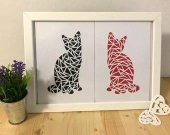 Cats, papercut handmade, paperart