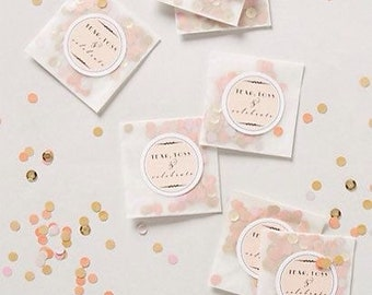 Wedding table confetti, gold party confetti, small paper bag favors, pink gold and white party
