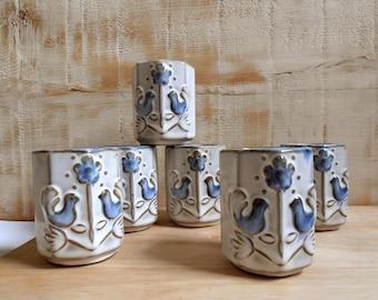 6 yunomi / decor textured stoneware cups Bohemia /rustique