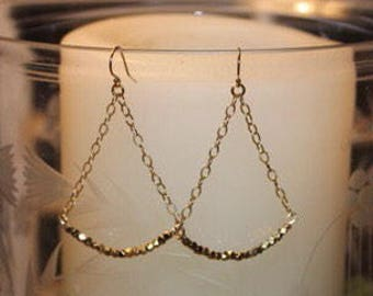 Gold Bead and Chain Drop Earrings