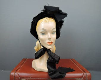 Victorian 1800s Velvet Hat, Black Bonnet with Feathers As Is